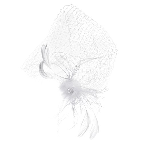 (Kloud City Bridal Feather Veil With Hair Clip Birdcage Women's Fascinator Veil)