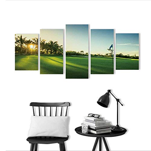 Wall Art for Living Room Decor 5 Piece Set Frameless Golf Course in The Countryside for Home Modern Decoration Print Decor -