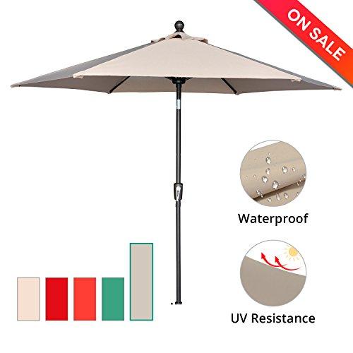 Cheap  LCH 9ft Outdoor Umbrella Patio Backyard Table Umbrella Sturdy Pole Push Button..