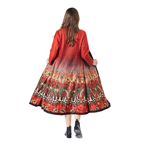 Beauty Red Irregular Linen Maxi Veni Oriental Masee Cotton pieces 2 Folk Loose Dress Women's H Casual Style Painting Yn1t1wHTq