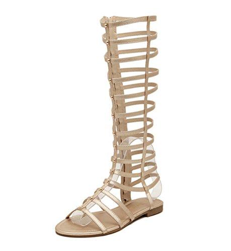 LOBTY Süße Sommer Fischkopf stiefel Flache Sandalen Frauen lange Stiefel Gaotong Damen Toe Sandalen hohl Sandalen Rom Wind Zipper Sandalen Gr.35-40 Gold