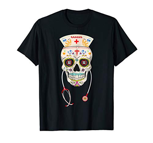 Nurse Sugar Skull Shirt Halloween Day Of The Dead Costume