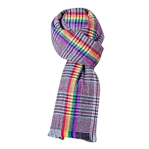 HULKAY Classic Cashmere Feel Rainbow Shawl Jacquard Plaid Scarf(Red)