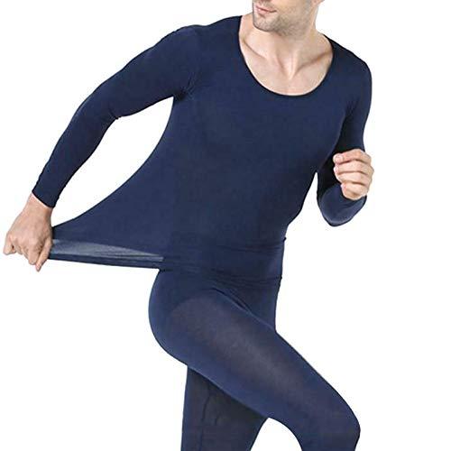 Syfinee Mens Long Thermal Underwear Seamless Elastic Thermals Inner Wear Solid Color Warm Slim Underwear Fleece Lined Winter Long Johns Base Layer Set for Men Winter