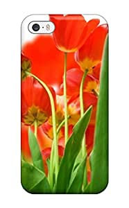 New Fashion Premium Tpu Case Cover For Iphone 5/5s - Attractive Red Tulips Flower
