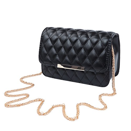 (Classic Smooth Quilted Flap Clutch Handbag Crossbody Shoulder Bag, Black)
