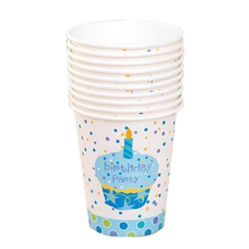 40 Counts Office/Home Water Paper Cup Disposable Cup, Blue Cake Pattern