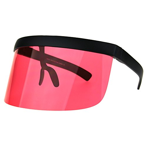 Extra Oversize Visor Style Shield Mask Pop Color Lens Funky Sunglasses - Sunglasses Visor With
