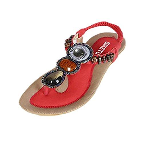 Tongshi Indumentaria femenina dulce con cuentas de clip del dedo del pie de las sandalias Pisos espina de pescado de Bohemia Rojo