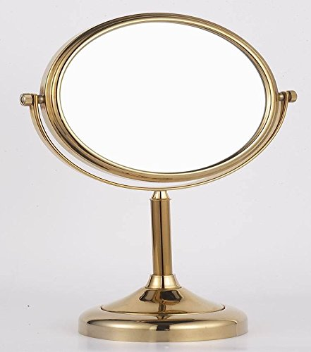 Desktop double-sided makeup mirror desk-bathroom mirrors double-sided magnifying glass Golden 8