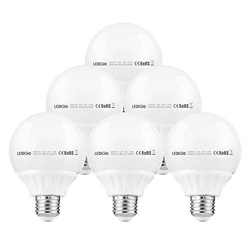 LEDGLE 5.5W LED Globe Light Bulbs G25 E26 LED Bulbs 50W Incandescent -