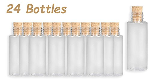 4E#039s Novelty Small Plastic Sand Bottles with Cork 2 oz Arts and Crafts Jars 3 inches Pack of 24