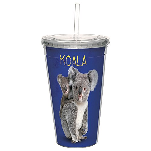 Tree-Free Greetings CC35760 Cool Cups, Double-Walled Pba Free with Straw and Lid Travel Insulated Tumbler, 16 Ounces, Koala Bears by Tree-Free Greetings