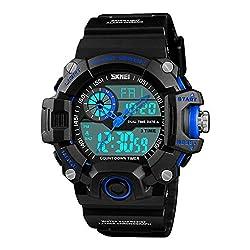 LJS-BQ Outdoor Sports Watch, Men's Fashion Waterproof and Shockproof Multi-Function Electronic Watch,Blue