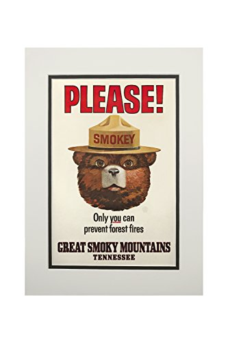 (Great Smoky Mountains, Tennessee - Smokey Bear - Vintage Poster (11x14 Double-Matted Art Print, Wall Decor Ready to Frame) )