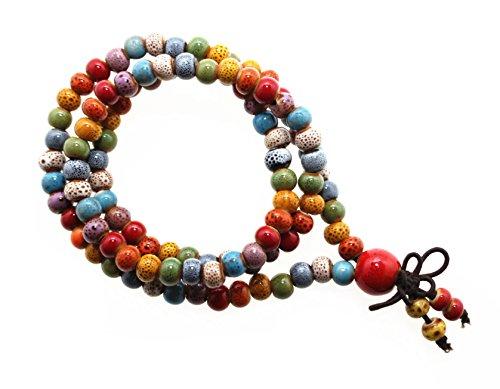 Happiness Jewelry Bracelet of 108 Beaded Ceramic Fashion Vintage Prayer Mala Three-Row Porcelain Elastic Bracelet (Rainbow) (Bracelet Bead Rainbow)