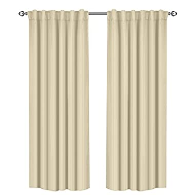 Utopia Bedding Thermal Insulated Blackout Curtains, 2 Panels, 52  x 84  (Beige)