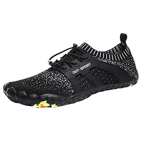 SUNyongsh New Men's Shoes Mesh Shoes Leisure Sports Shoes are Breathable in Summer Shoe Black ()