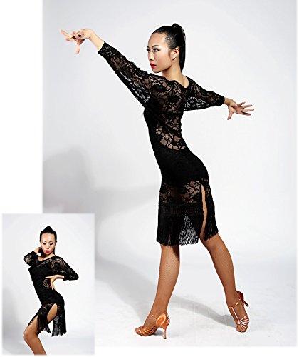 semi latino professionale ballo da Moderna il swing di vestito design Danza FBA trasparenti lace black G3018 nappe SCGGINTTANZ pqSwFP