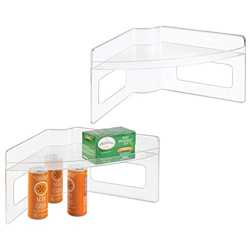 mDesign Lazy Susan Storage Shelf with Handles for Kitchen Cabinets, Pantry - Pack of 2, Clear