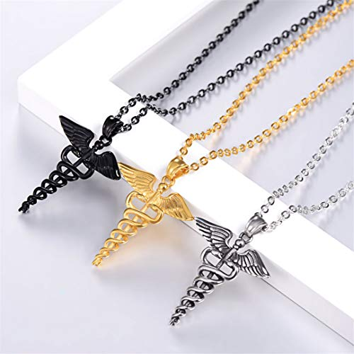 LIVEGNS Caduceus Necklace Graduation Doctor Gift Unisex Stainless Steel Gold Symbol Angel Wing Snake Necklace P3238 Black Gun Plated by LIVEGNS (Image #3)'