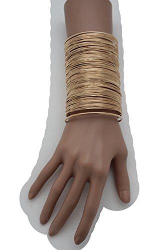 TFJ Women Fashion Jewelry Metal Wrist Cuff Bracelet Long Strings Stripse Fancy Chic Gold