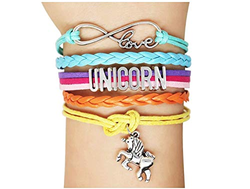 biaofeng Horses Bracelets Horse Charm-Girls Horse Lover Jewelry Gifts-Braided Adjusted (Unicorn)