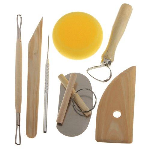 8Pcs Wood Metal Pottery Clay Ceramics Molding Carving Sculpting Tools