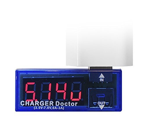 Xcessor USB Charger Doctor. Power Meter - Voltage Tester - Current Monitor for USB 2.0, 3.0. Volt and Amp Reader. Can be Used to Check Mains Charger and Other USB Equipment. DC 3.5 - 10V, 0 - 3A. Blue / Semitransparent -