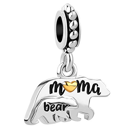 Charmed Craft Mother Mom Love Child Charms Elephant Mama Bear Beads for Snake Chain Bracelets (Bear) (Mom Charm Bead)