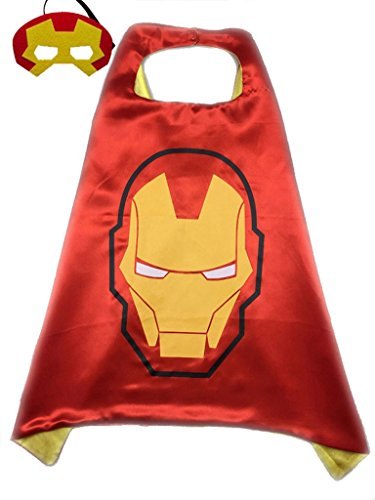 Superhero or Princess Kids CAPE & MASK SET Childrens Halloween Costume (Red & Yellow (Ironman)) (Tony Stark Halloween Costume)