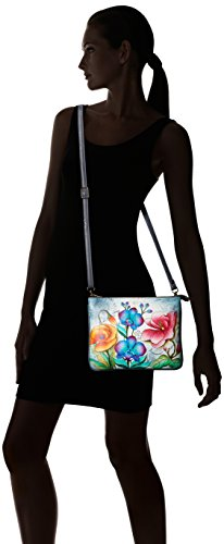 ANUSCHKA dipinto a mano in pelle Luxury -570triplo scomparto Crossbody., Floral Fantasy (Multicolore) - 570-FFY Floral Fantasy