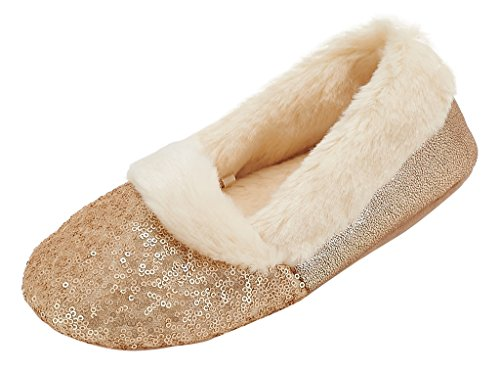 MIXIN Women's Ballerina Metallic Shine Sequin Indoor Slippers US9 (Sequins Ballet Shoes)