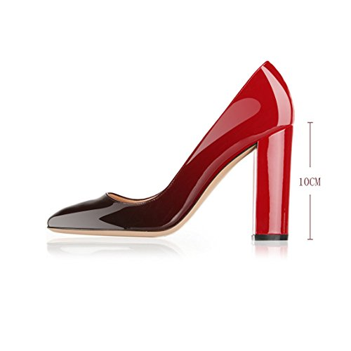 Block Black Gorgeous Round Shoes Women's Red Evening Heels Toe Leather Sexy Stiletto Party Modemoven Pumps Patent zw1UYqzZ