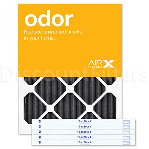 AIRx ODOR 16x20x1 MERV 8 Carbon Pleated Air Filter - Made in the USA - Box of 6