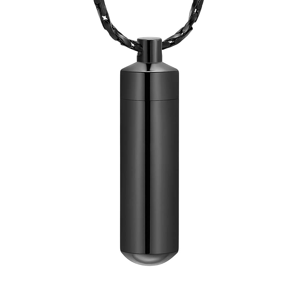 Imrsanl Cremation Jewelry for Ashes Pendant Urn Necklace Cylinder with Glass Vial Keepsake Ashes Memorial Jewelry (Black)