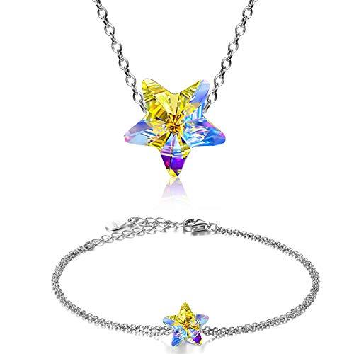 Aroncent 925 Sterling Silver Necklace Bracelet Lucky Star Pendant Made with Sparkling Swarovski ()