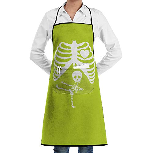 SWT Home Halloween Pregnant Skeleton Adjustable Kitchen Apron With Pocket For Men & Women, Professional Chef Bib Apron For Cooking, Baking, Crafting, Gardening And BBQ