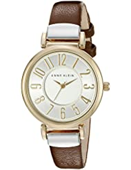 Anne Klein Womens AK/2157SVBN Easy To Read Two-Tone and Brown Leather Strap Watch