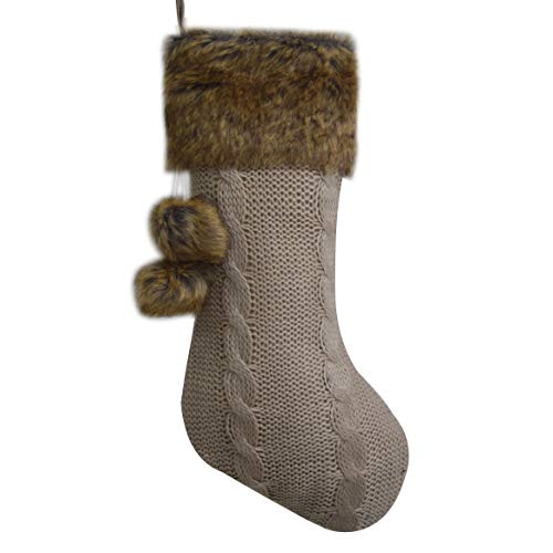 Gireshome Chunky Cable Knit Body, Luxury Faux Fur Cuff,Whimsical Pom-poms Christmas Stocking -10x18