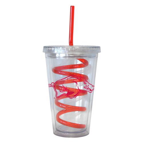 NCAA Arkansas Razorbacks Tumbler with Swirl Straw, 16-ounce