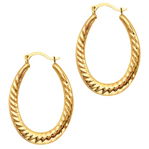 (10k Yellow Gold Ridged Oval Shaped Hoop Earrings, Diameter 30mm)