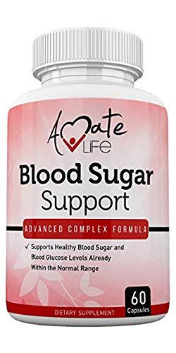 Blood Sugar Support Supplement with Biotin, Cassia Cinnamon, Vitamin C & Vitamin E - Sugar, Glucose, Insulin & Cholesterol Control Pills - Dietary Supplement - 60 Capsules by Amate Life