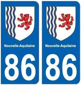 86 VIENNE DEPARTEMENT IMMATRICULATION 2 X AUTOCOLLANTS STICKER AUTOS