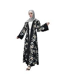 HomeMals Fashion Muslim Print Robe Elegant Casual Abaya Summer Evening Gown Maxi Cardigan di Dress