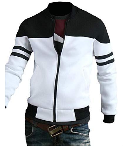Striped Casual Mogogo Pocket Jacket Luxury Zip Coat Front Stitching Men's 1 qxxFTfg
