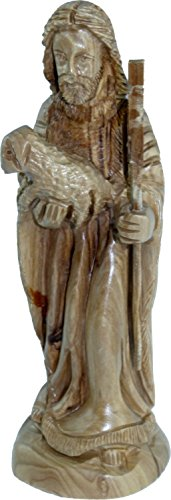 Holy Land Market The Good Shepherd (Our Lord Jesus Christ) Carved in Olive Wood Figure Statue - 6.8 Inches