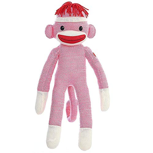 BrandedEasy Original Plushed Stuffed Sock Monkey 20 Inches Tall, Soft Like Wool Knitted Realistic Animal Toy with Classic Embroidered Eyes for All Kids and Teens (Pink)]()
