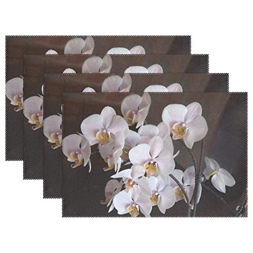 AIKENING Orchids Flowers Pink Placemats Set of 4 Heat Insulation Stain Resistant for Dining Table Durable Non-Slip Kitchen Table Place Mats