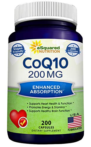 CoQ10 (200 Capsules and 200mg) - High Absorption Vegan CO Q-10 Powder - Enzyme Ubiquinone Supplement Pills, Extra Antioxidant Coenzyme Q10 Vitamin Tablets, Coq 10 for Healthy Blood Pressure & Heart